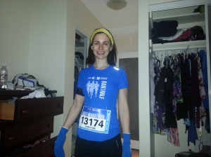 5:30am - right before I left to run my first 1/2 marathon. Please excuse the sock drawer.